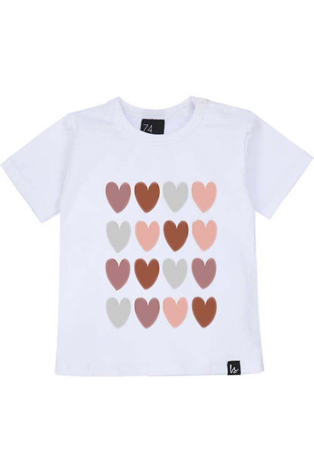 Babystyling T-shirt met hartjes wit/roze/grijs, Wit/roze/grijs