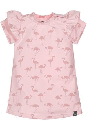 jurk met dierenprint en ruches roze