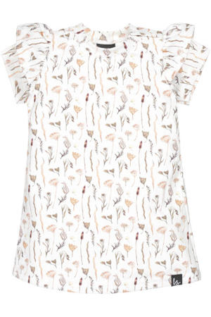 gebloemde jurk wit/zand