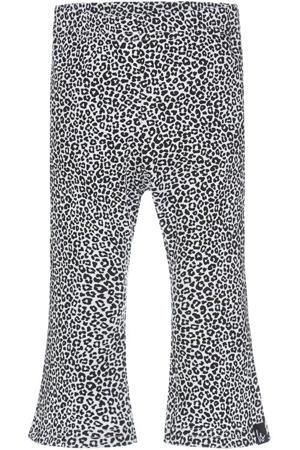 flared broek met dierenprint zwart/wit