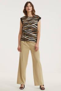 FREEQUENT T-shirt FQGENE-SS-PEEKO met zebraprint zwart/bruin/crème, Zwart/bruin/crème