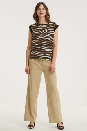 T-shirt FQGENE-SS-PEEKO met zebraprint zwart/bruin/crème