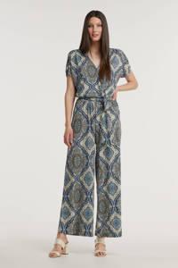 FREEQUENT jumpsuit HELLEN-JU-NADY met paisleyprint blauw/ ecru/ beige, Blauw/ Ecru/ Beige