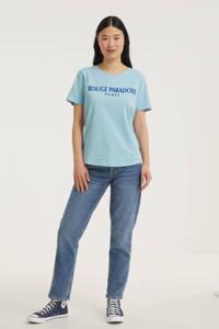 FREEQUENT T-shirt FQHALLEY-TEE met tekst lichtblauw, Lichtblauw