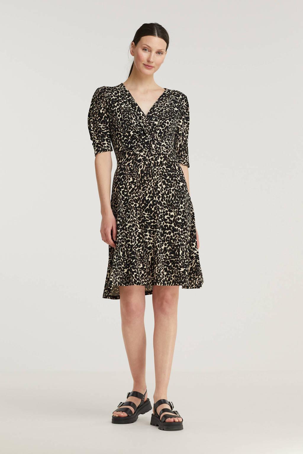 FREEQUENT jurk FQMARU-DR met dierenprint beige/zwart, Beige/zwart