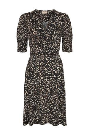 jurk FQMARU-DR met dierenprint beige/zwart