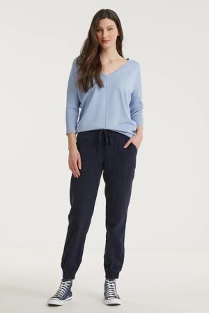 fijngebreide trui FQJONE-V-PU lichtblauw