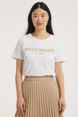 T-shirt FQHALLEY-TEE met tekst wit