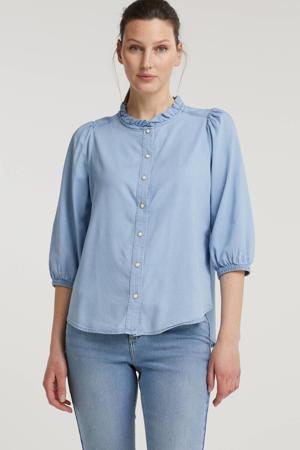 blouse FQDOBBY-BL-FRILL met ruches lichtblauw