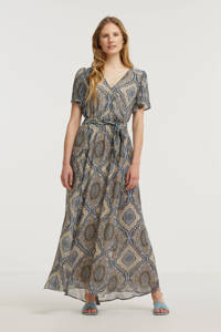 FREEQUENT maxi jurk FQNADY-DR met all over print en ceintuur blauw/ecru, Blauw/ecru
