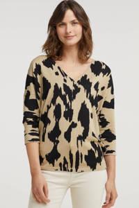 FREEQUENT trui FQJONE-V-PU-WILD met all over print en vleermuismouwen beige/zwart, Beige/zwart