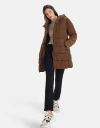 Shoeby Eksept gewatteerde winterjas SIGHT met ceintuur bruin, Bruin