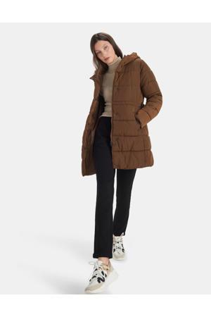 gewatteerde winterjas SIGHT met ceintuur bruin
