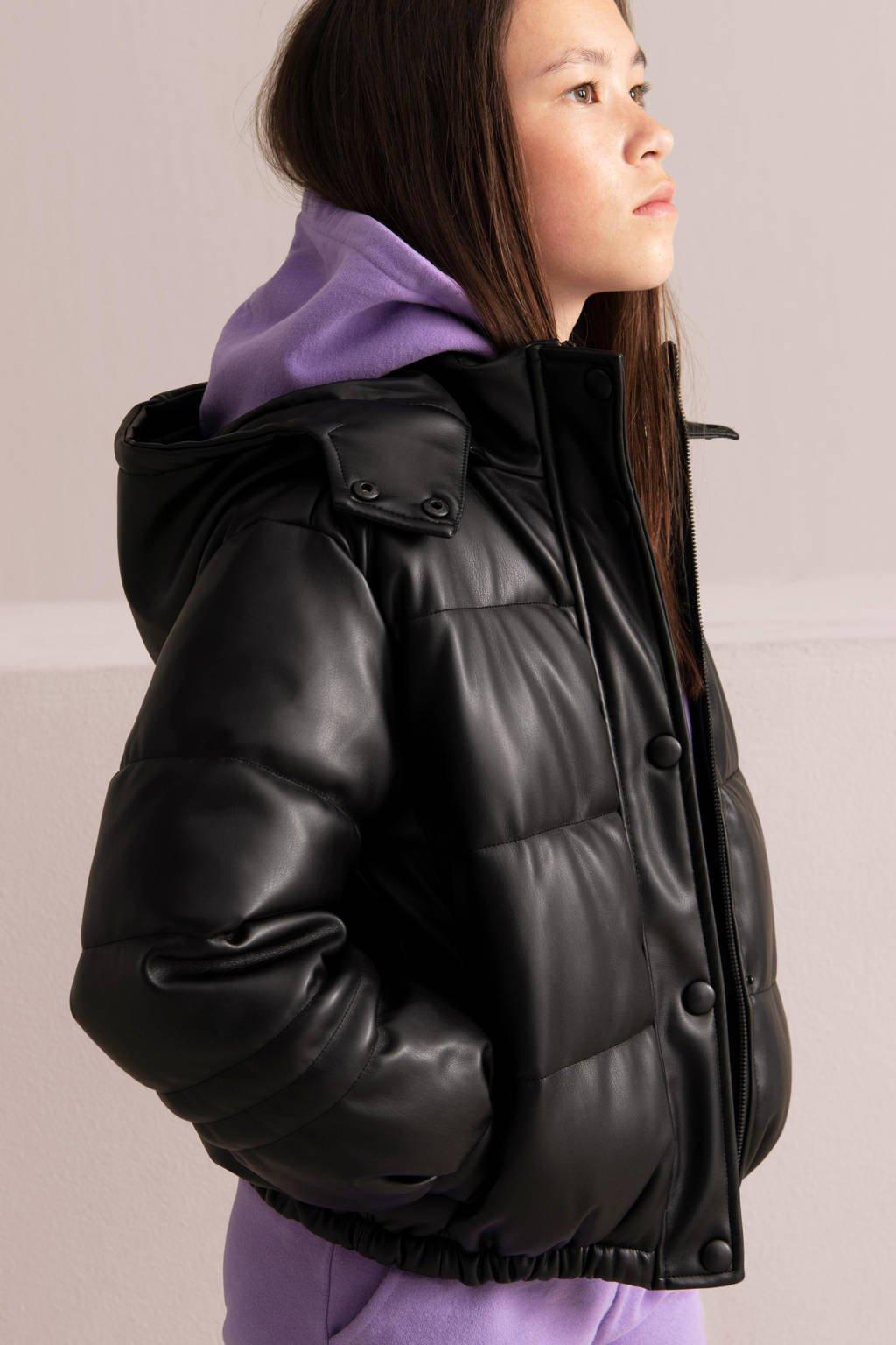 Shoeby Jill & Mitch imitatieleren gewatteerde winterjas Taylor zwart, Zwart