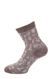 Pinned by K lurex sokken met luipaardprint bruin, Bruin