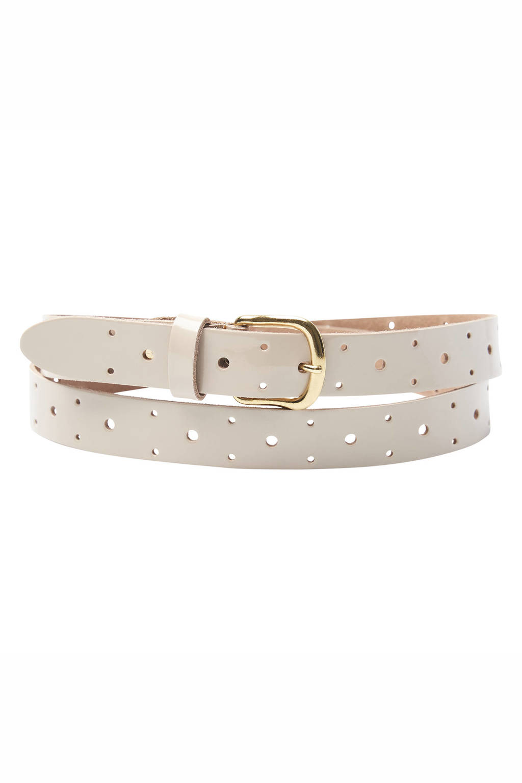 Pinned by K leren riem taupe, Taupe