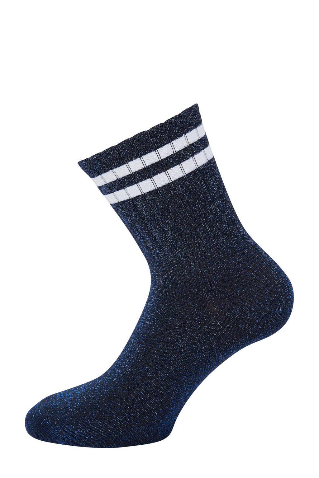Pinned by K lurex sokken donkerblauw/wit, Donkerblauw/wit