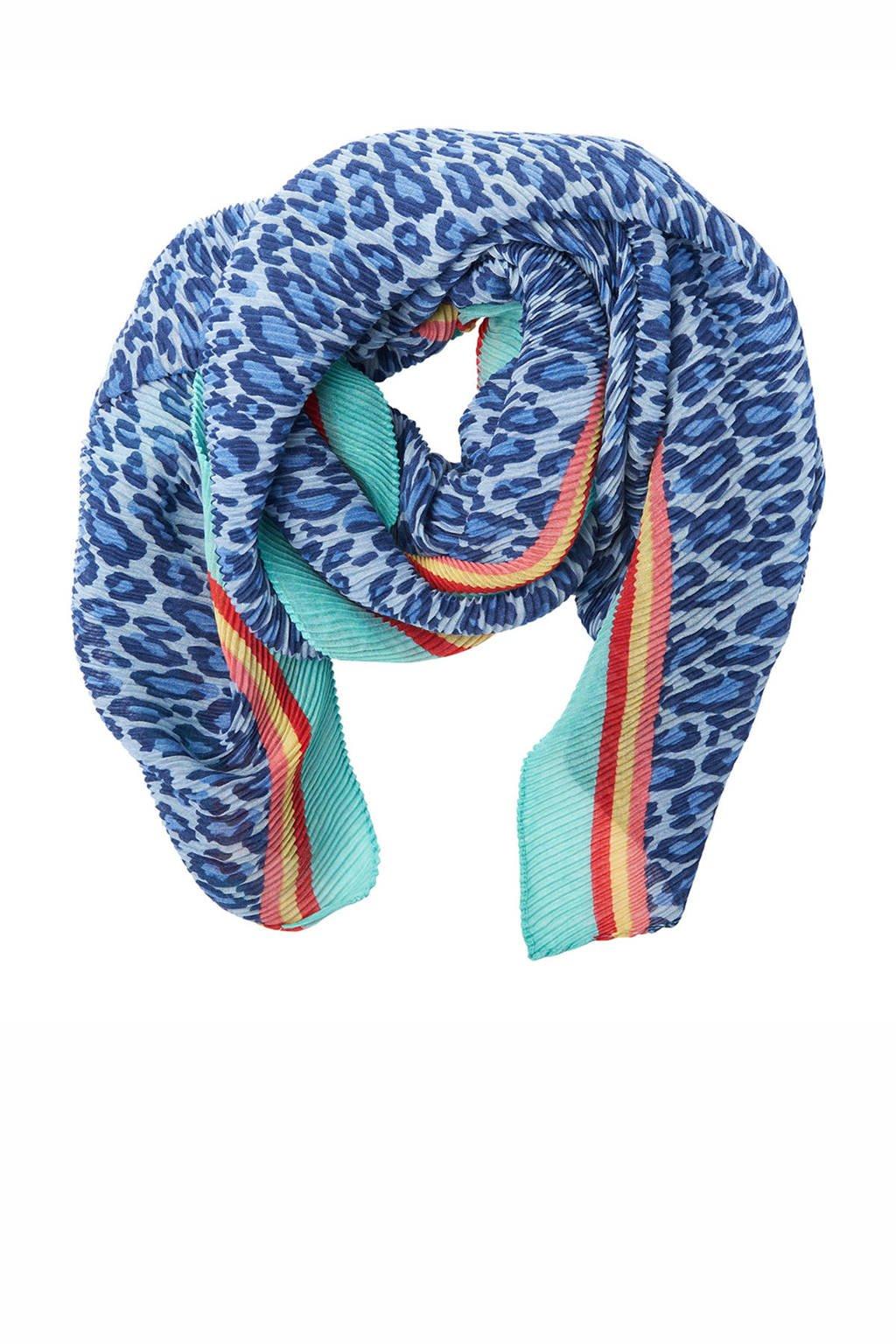 Pinned by K sjaal met panterprint blauw, Blauw