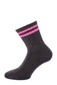 Pinned by K lurex sokken zwart/roze, Zwart/roze