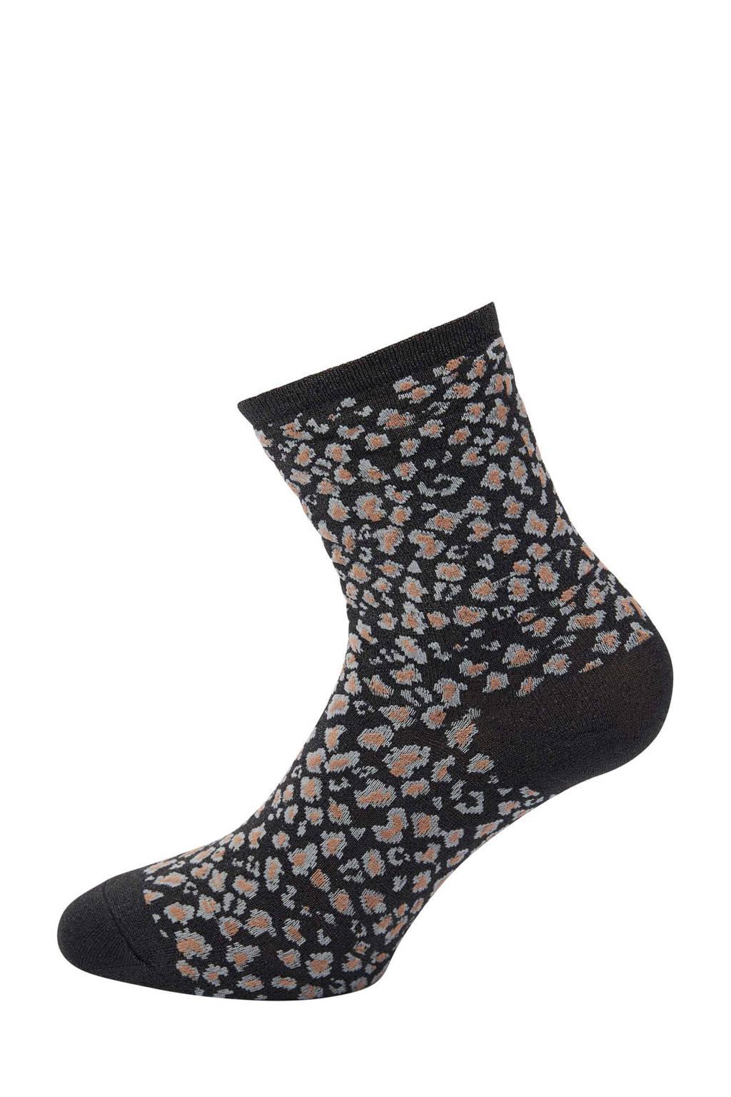 Pinned by K lurex sokken met luipaardprint zwart, Zwart