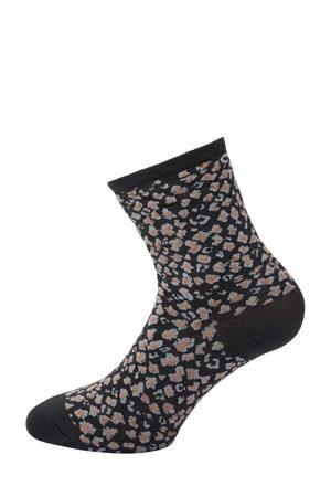 lurex sokken met luipaardprint zwart