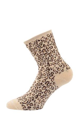 lurex sokken met luipaardprint beige