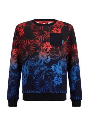sweater met all over print zwart/rood/blauw