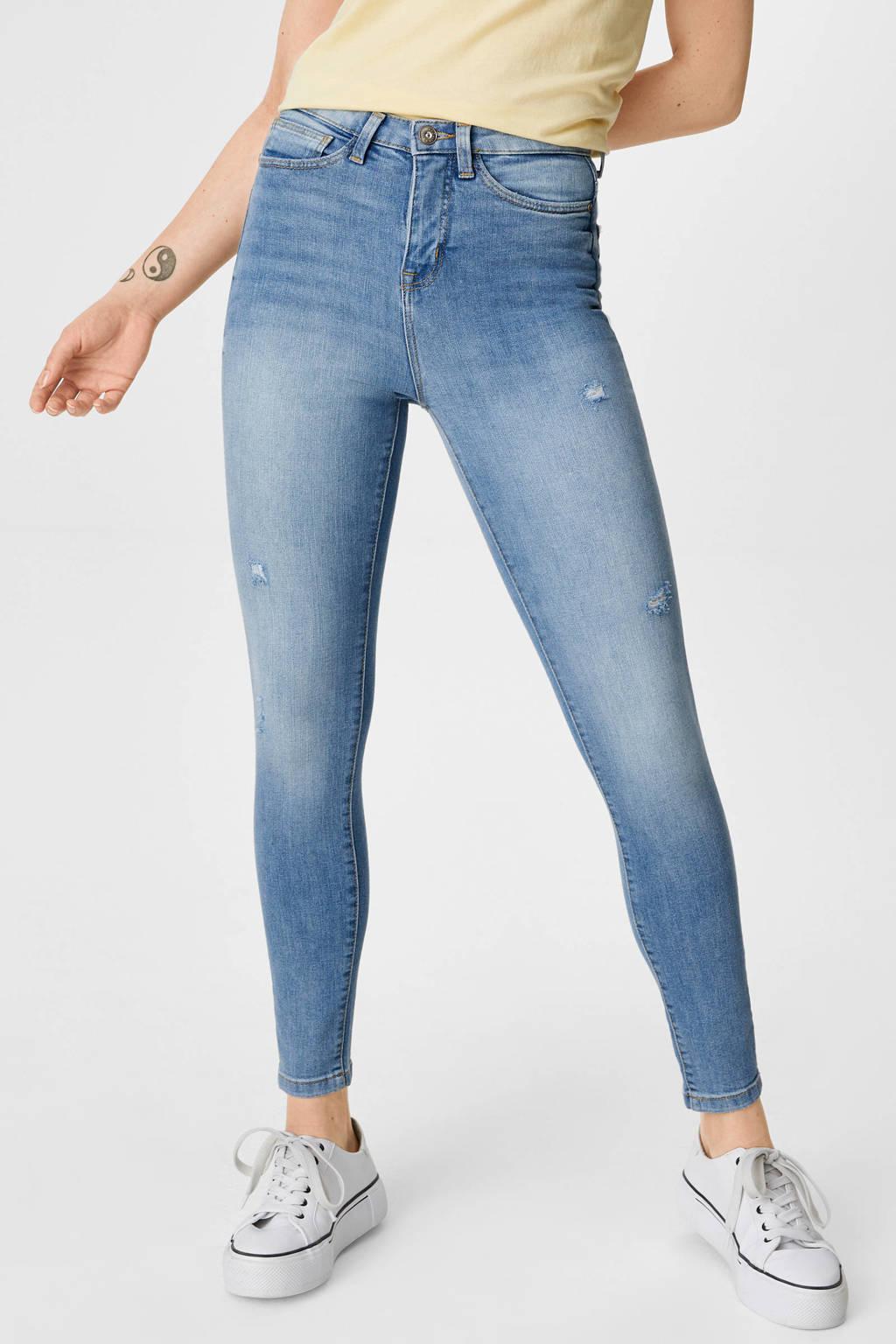C&A Clockhouse high waist skinny jeans light denim, Light denim