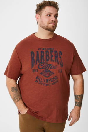 T-shirt met printopdruk bruin