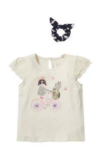 C&A Happy girls Club T-shirt + scrunchie ecru, Ecru