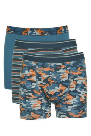 boxershort - set van 3 blauw/oranje