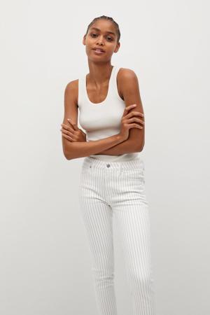 cropped high waist skinny jeans met krijtstreep wit/blauw