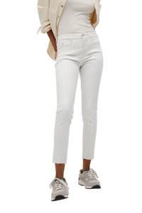 Mango cropped high waist skinny jeans met krijtstreep wit/blauw, Wit/blauw