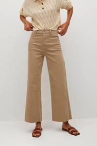Mango cropped high waist loose fit jeans beige, Beige