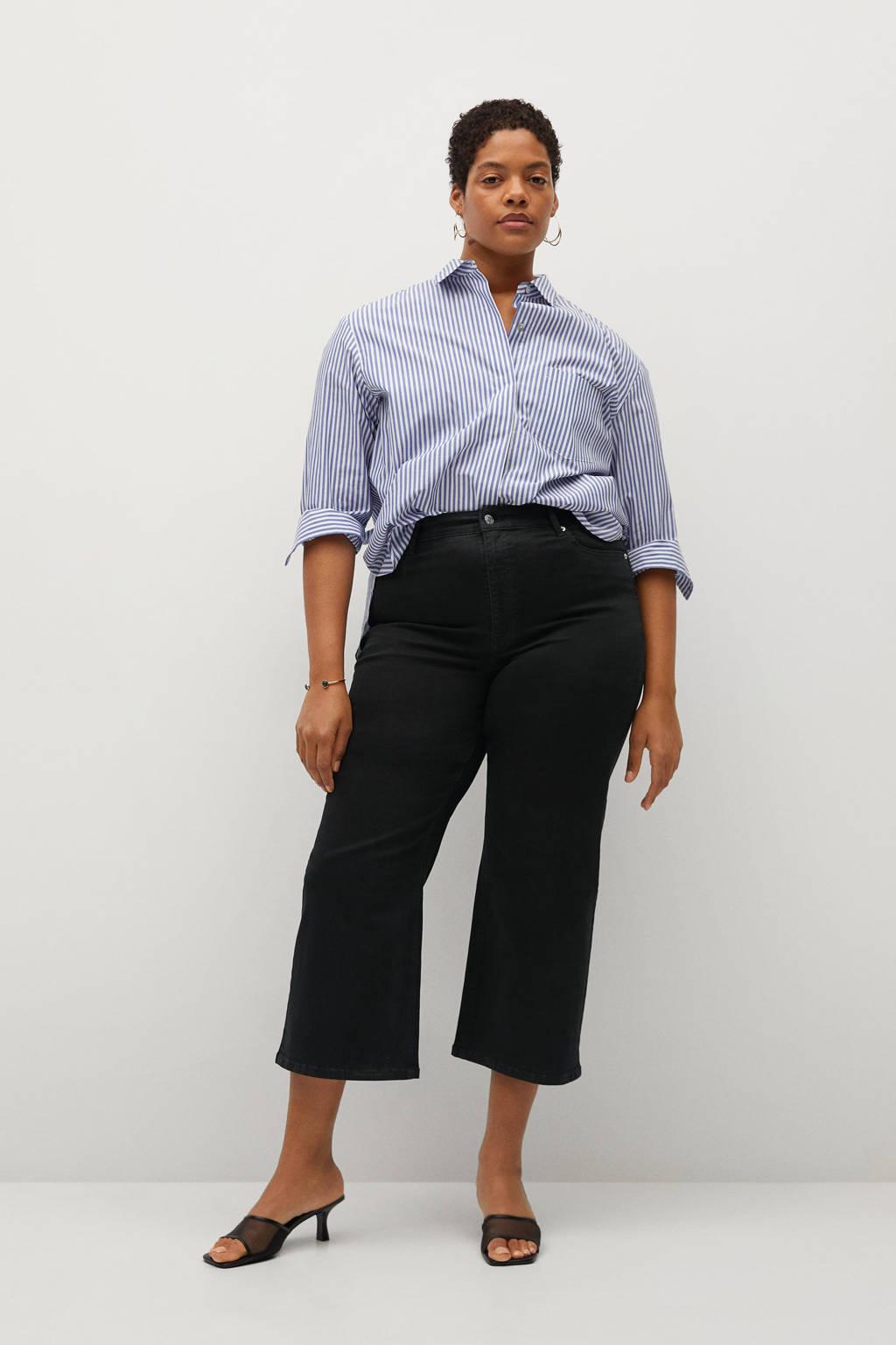 Violeta by Mango cropped loose fit jeans black, Black
