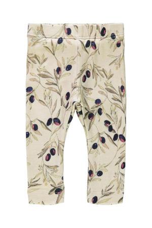baby slim fit broek Larisa met biologisch katoen beige/groen/paars