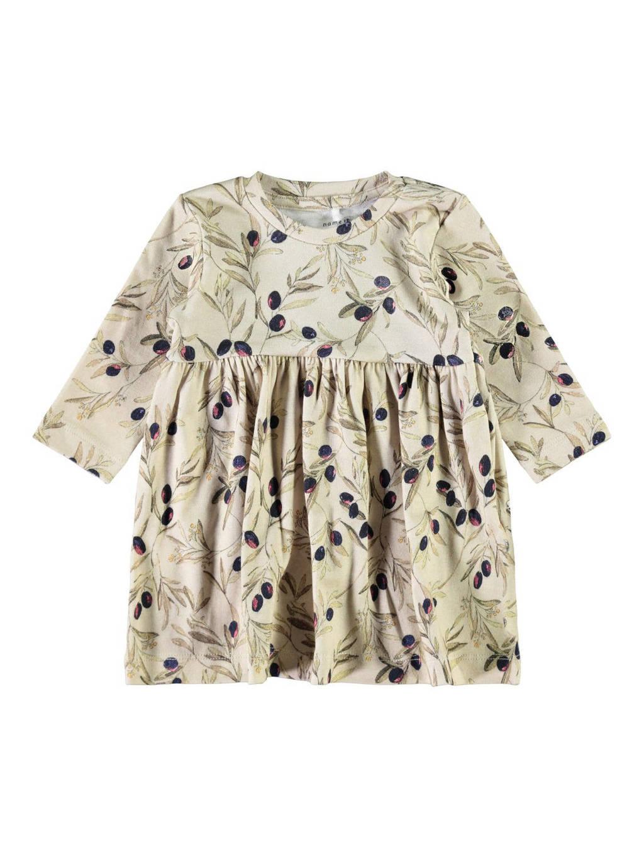 NAME IT BABY baby jurk NBFLARISA met biologisch katoen beige/groen/paars, Beige/groen/paars