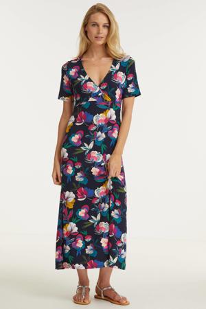 maxi jurk met paisleyprint donkerblauw/roze