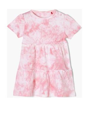 tie-dye jurk lichtroze/wit