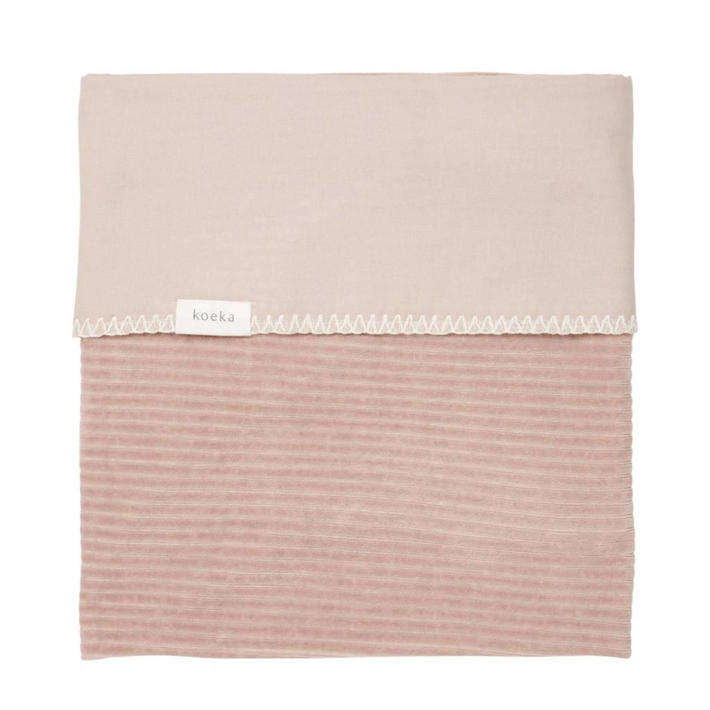 Koeka baby wiegdeken Vik corduroy/flanel 75x100 cm Grey Pink