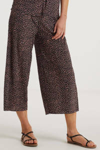 anytime wide leg palazzo broek met stippen zwart/roze, Zwart/roze