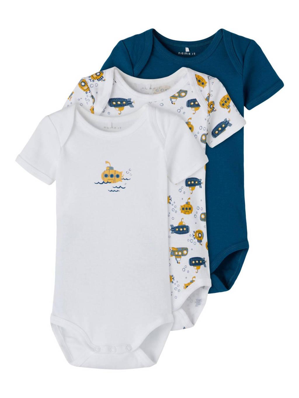 NAME IT BABY romper - set van 3 blauw/wit/geel, Blauw/wit/geel