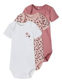 NAME IT BABY romper - set van 3 roze/wit/oudroze, Roze/wit/oudroze