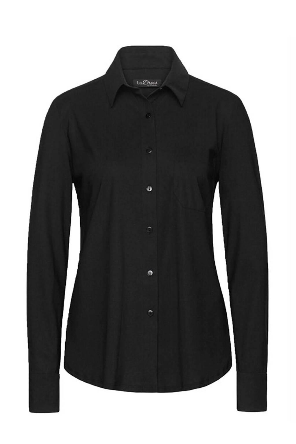 LaDress blouse Annie van travelstof zwart, Zwart