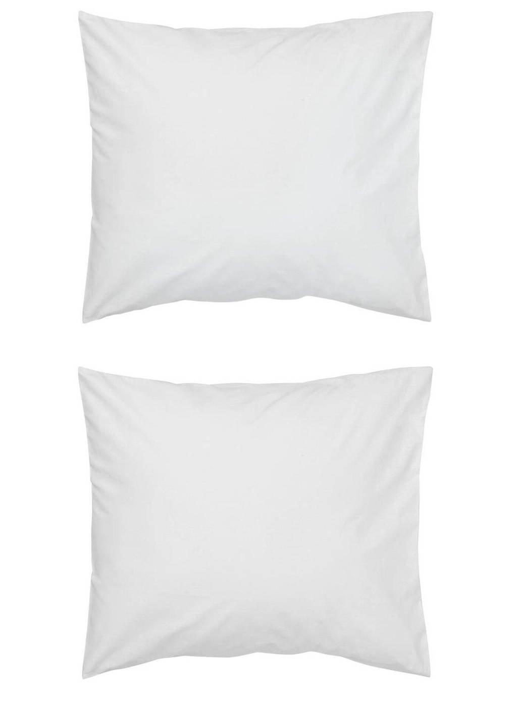 HEMA katoensatijnen kussensloop (set van 2), Wit