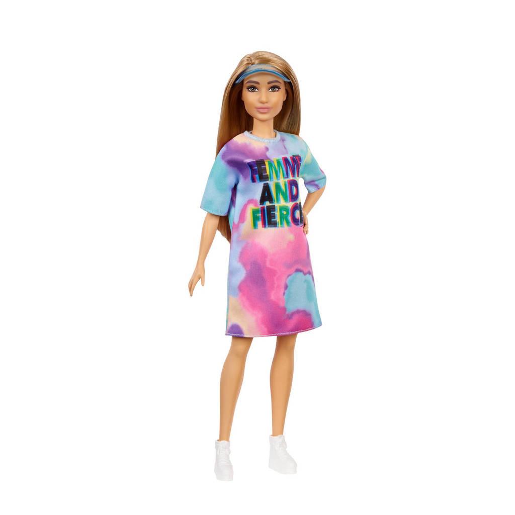 Barbie Fashion en Beauty Barbie Fashionista Doll gekleurd jurkje
