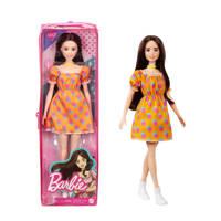 Barbie Fashion en Beauty Barbie Fashionista Doll Polka stippen off shoulder jurkje