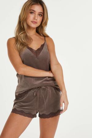 velours pyjamashort bruin