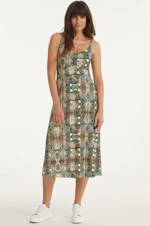 maxi jurk met slangenprint multi