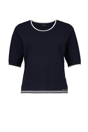 trui met contrastbies en borduursels donkerblauw/wit